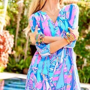 Lilly Pulitzer Ali V-Neck T-Shirt Dress Bay Blue O